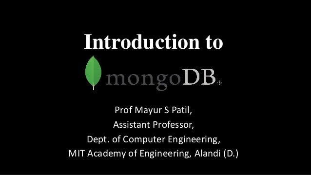 Introduction to Prof Mayur S Patil, Assistant Professor, Dept. of Computer Engineering, MIT Academy of Engineering, Alandi...