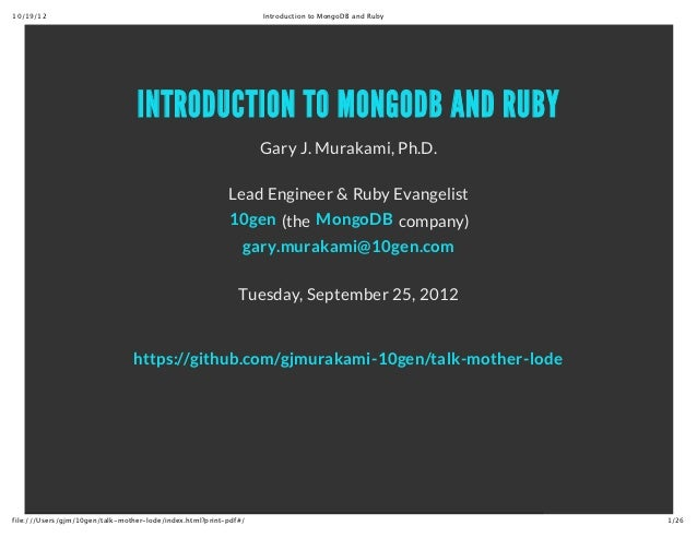 10/19/12                                                          Introduction to MongoDB and Ruby                        ...