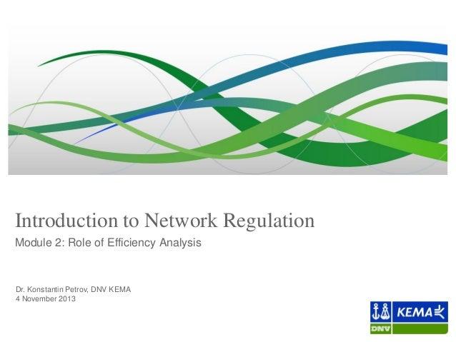 Introduction to Network Regulation Module 2: Role of Efficiency Analysis  Dr. Konstantin Petrov, DNV KEMA 4 November 2013
