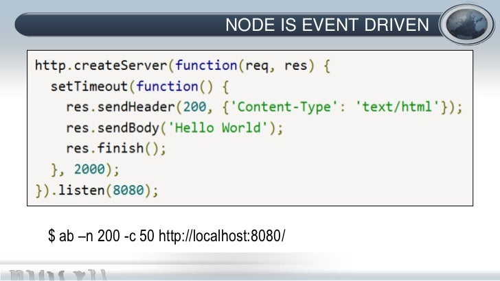 NODE IS EVENT DRIVEN$ ab –n 200 -c 50 http://localhost:8080/
