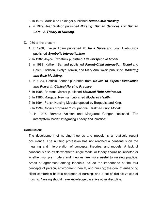 my nursing theory essay Orem's self care theory name institutional affiliation introduction nursing theories are concepts, models, propositions and definitions arrived after both.
