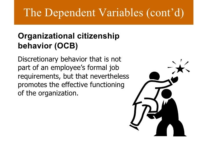 organisational citizenship behaviour an organization Today's working environment focuses on productivity, quality, innovation and organizational effectiveness the qualities displayed by a top performer are consistent across industries and different sized companies, and people strive for success in a highly competitive environment.