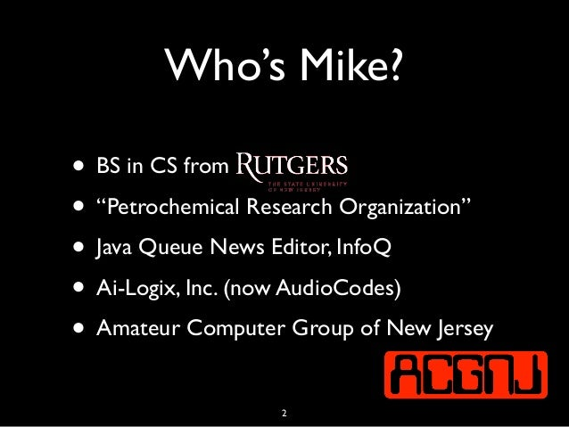 """Who's Mike? • BS in CS from • """"Petrochemical Research Organization"""" • Java Queue News Editor, InfoQ • Ai-Logix, Inc. (now ..."""