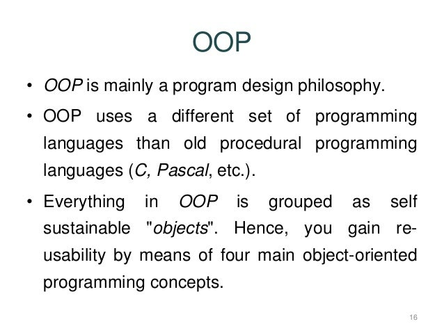 an introduction to sather an object oriented language This is a list of notable programming languages with object-oriented  programming (oop) features, which are also listed in category:object-oriented  programming languages note that, in some contexts, the definition of an object- oriented programming language  sather elixir falcon fortran 2003 fpr  freebasic f-script f#.