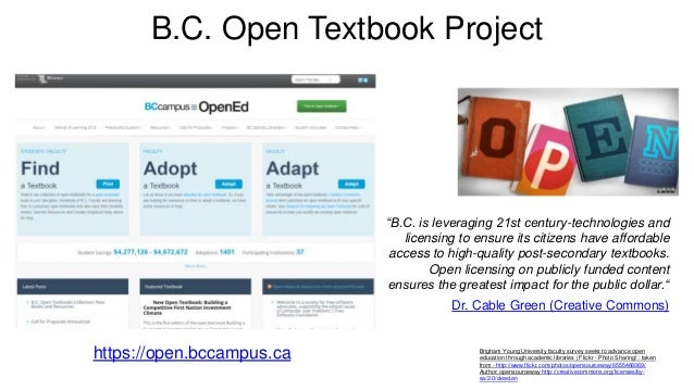 B.C. Open Textbook Project Brigham Young University faculty survey seeks to advance open education through academic librar...