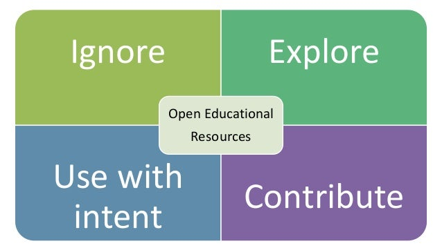 Ignore Explore Use with intent Contribute Open Educational Resources