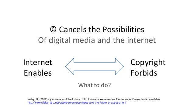 © Cancels the Possibilities Of digital media and the internet Internet Enables What to do? Copyright Forbids Wiley, D. (20...