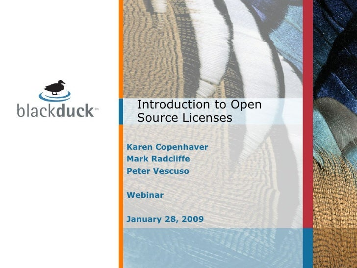 Karen Copenhaver Mark Radcliffe Peter Vescuso Webinar January 28, 2009 Introduction to Open Source Licenses