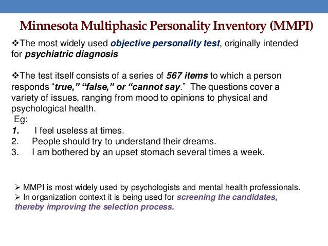 Psychological Testing: Minnesota Multiphasic Personality Inventory