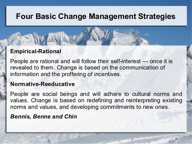 the normative re educative strategy Social change strategies then use normative/re-educative strategies no society has been free of violence as a strategy for social.