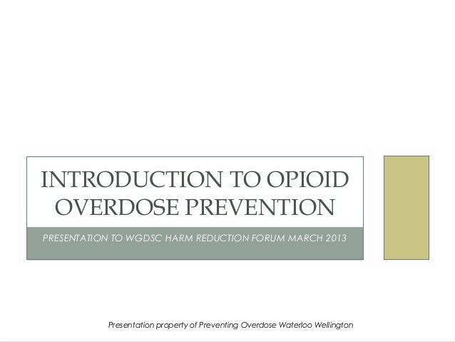 INTRODUCTION TO OPIOID OVERDOSE PREVENTIONPRESENTATION TO WGDSC HARM REDUCTION FORUM MARCH 2013           Presentation pro...