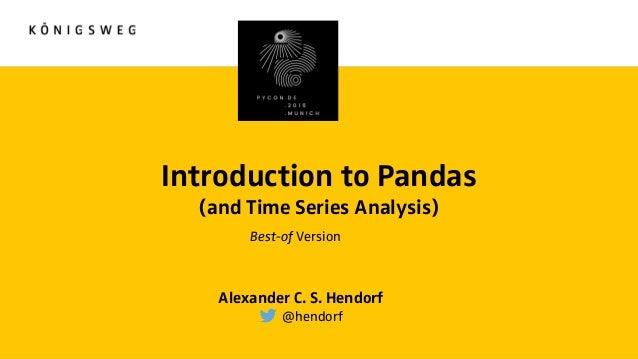 Introduction to Pandas and Time Series Analysis [PyCon DE]