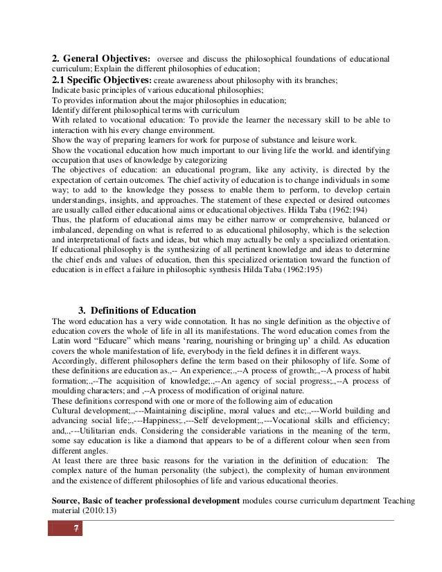 philosophical foundation of curriculum pdf