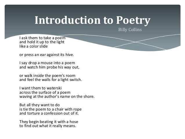 """Poetry Analysis of """"Introduction to Poetry"""""""
