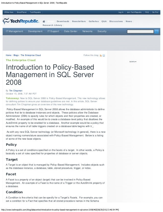 Introduction to Policy-Based Management in SQL Server 2008 | TechRepublic   ZDNet Asia    SmartPlanet    TechRepublic     ...