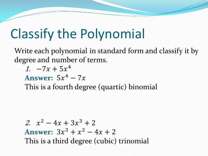 Introduction to Polynomial Functions – Classifying Polynomials Worksheet