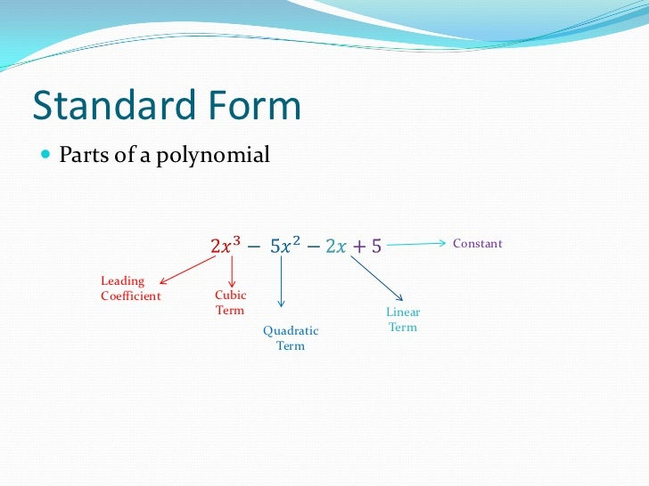 Standard Form Of A Polynomial Definition Dolapgnetband