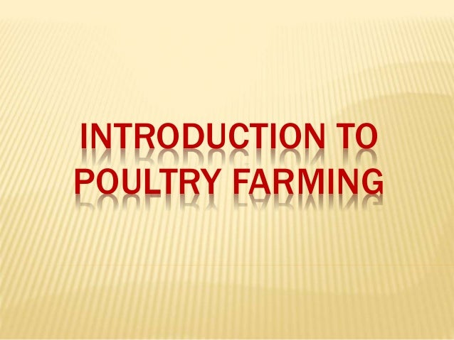 Introduction to poultry farming