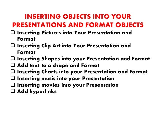 APPLYING SIMPLE ANIMATION TO YOUR PRESENTATION  Animate text  Animate graphics  Create slide transitions  Advance slid...