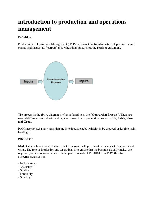 """introduction to production and operations management Definition Production and Operations Management (""""POM"""") is about the ..."""