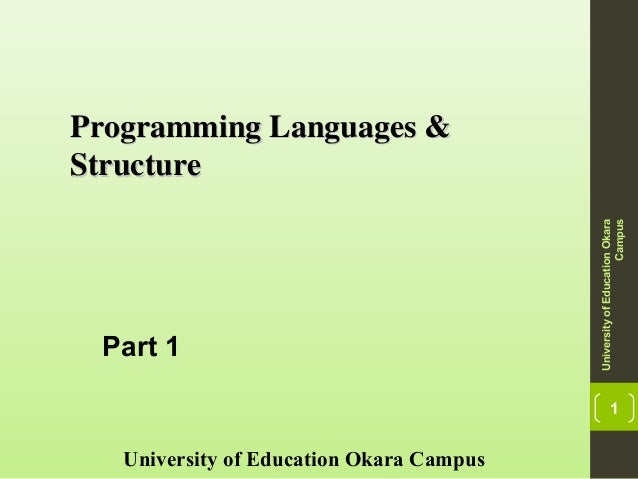 1 Programming Languages &Programming Languages & StructureStructure University of Education Okara Campus UniversityofEduca...