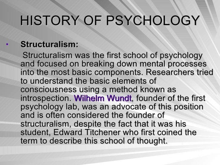 an introduction to the psychology of the history Psychology is an academic and applied field involving the study of behavior, mind and thought and the subconscious neurological bases of behavior psychology also refers to the application of such knowledge to various spheres of human activity, including problems of individuals' daily lives and the treatment of mental.
