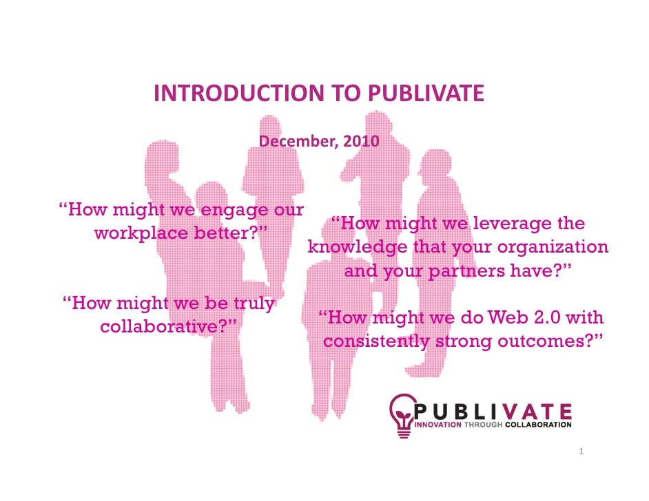 "INTRODUCTION TO PUBLIVATE                    December, 2010""How might we engage our   workplace better?""        ""How might..."