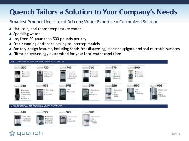 Quench Tailors a Solution to Your Company's Needs Broadest Product Line + Local Drinking Water Expertise = Customized Solu...