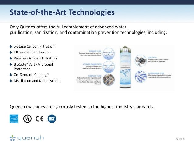 State-of-the-Art Technologies Only Quench offers the full complement of advanced water purification, sanitization, and con...