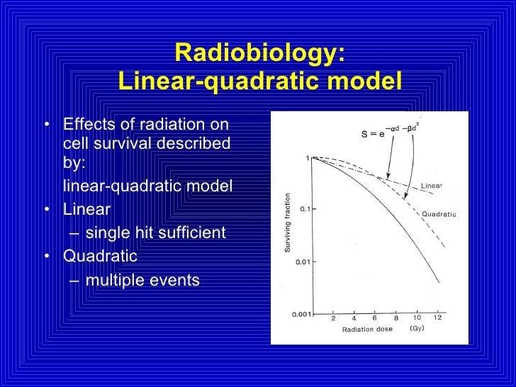 Radiobiology: Linear-quadratic model <ul><li>Effects of radiation on cell survival described by: </li></ul><ul><li>linear-...