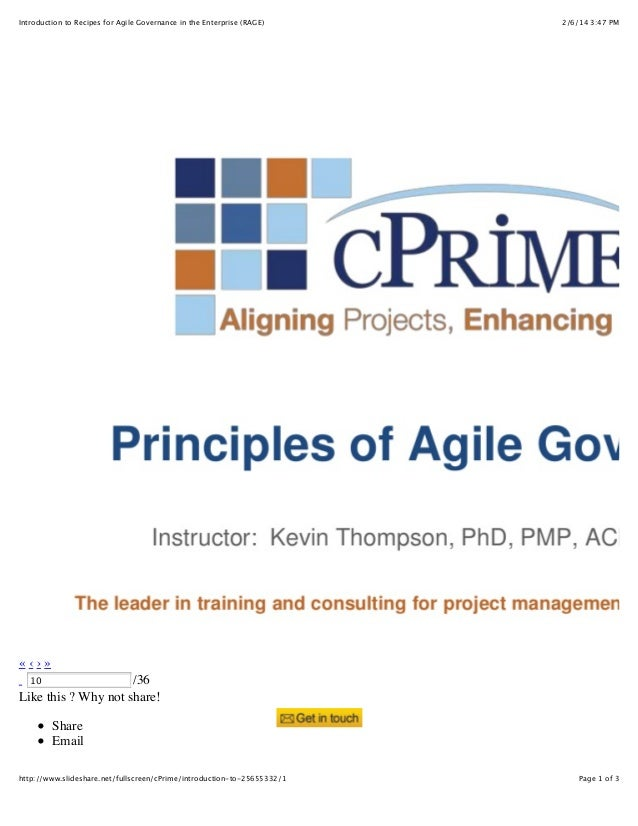 Introduction to Recipes for Agile Governance in the Enterprise (RAGE)  2/6/14 3:47 PM  «‹›» /36 Like this ? Why not share!...