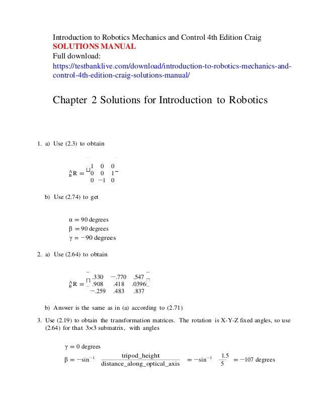 introduction to robotics mechanics and control 4th edition craig solu rh slideshare net Robot Design VEX Robotics