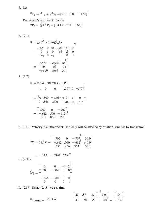 Introduction to robotics mechanics and control 4th edition