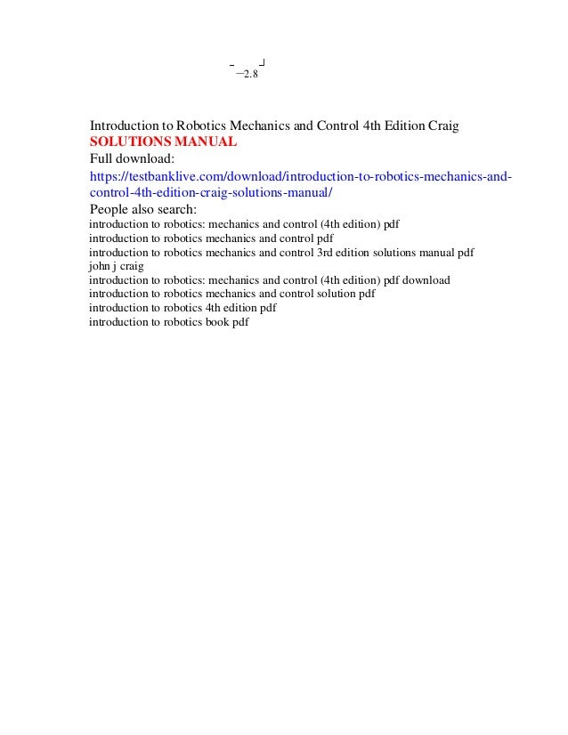introduction to robotics mechanics and control 4th edition craig solu rh slideshare net Robot Design Robot Design