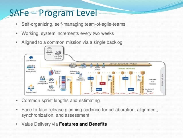 Agile Release Train ▸ Long lived self organizing team of 5-12 Agile teams (50-125 individuals) that delivers solutions ▸ P...
