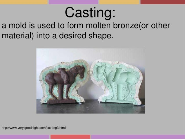 Casting: a mold is used to form molten bronze(or other material) into a desired shape.  http://www.verylgoodnight.com/cast...