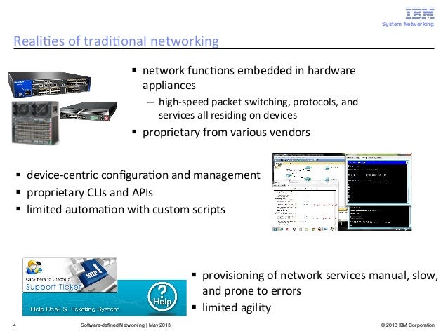 why switch to software defined networking Software defined networking (sdn) is a way to approach networking of computers through software abstractions in place of specialized hardware by abstracting some of the low level functionality of the network into a software application, it allows network administrators to more easily manage dynamic networks.