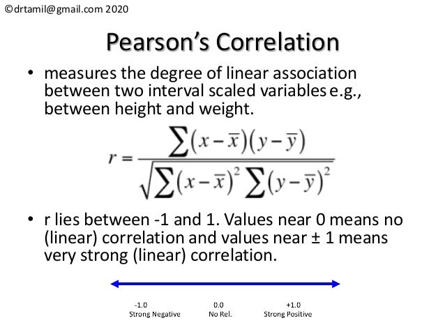 ©drtamil@gmail.com 2020 Pearson's Correlation • measures the degree of linear association between two interval scaled vari...