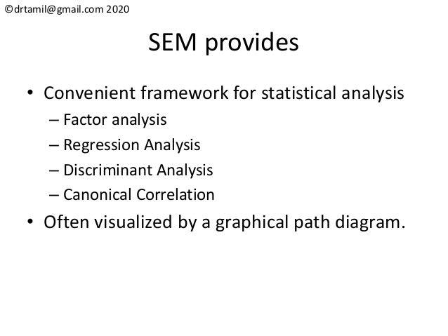 ©drtamil@gmail.com 2020 SEM provides • Convenient framework for statistical analysis – Factor analysis – Regression Analys...