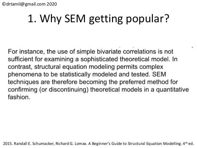©drtamil@gmail.com 2020 1. Why SEM getting popular? 2015. Randall E. Schumacker, Richard G. Lomax. A Beginner's Guide to S...