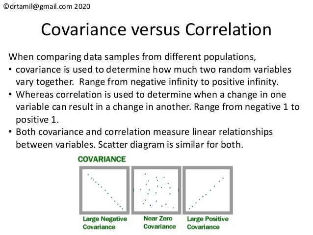 ©drtamil@gmail.com 2020 Covariance versus Correlation When comparing data samples from different populations, • covariance...