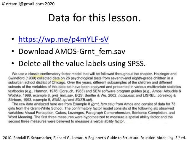 ©drtamil@gmail.com 2020 Data for this lesson. • https://wp.me/p4mYLF-sV • Download AMOS-Grnt_fem.sav • Delete all the valu...