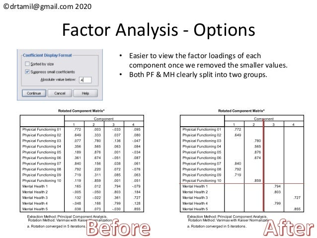 ©drtamil@gmail.com 2020 Factor Analysis - Options • Easier to view the factor loadings of each component once we removed t...