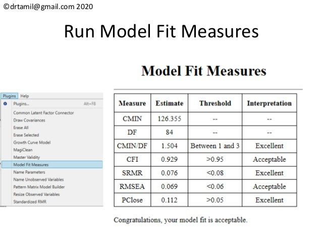 ©drtamil@gmail.com 2020 Run Model Fit Measures