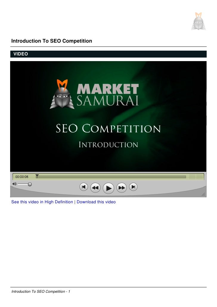 Introduction To SEO Competition   VIDEO     See this video in High Definition | Download this video     Introduction To SE...