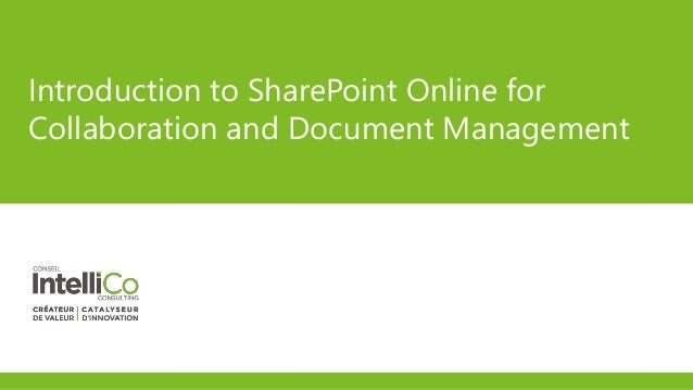 Introduction to SharePoint Online for Collaboration and Document Management