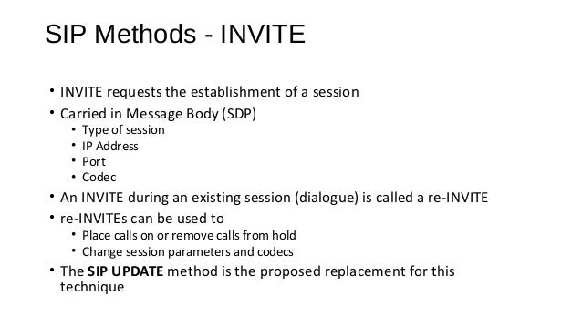 SIP Methods - ACK • ACK completes the three way session setup handshake (INVITE, final response, ACK) • Only used for INVI...