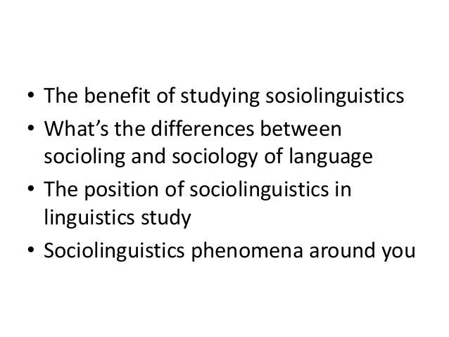 difference between sociolinguistics and sociology of language pdf