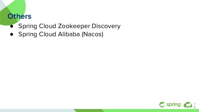 Others ● Spring Cloud Zookeeper Discovery ● Spring Cloud Alibaba (Nacos) 1 5