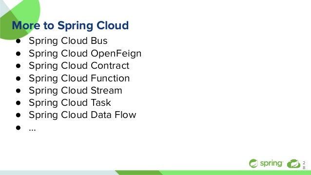 More to Spring Cloud ● Spring Cloud Bus ● Spring Cloud OpenFeign ● Spring Cloud Contract ● Spring Cloud Function ● Spring ...